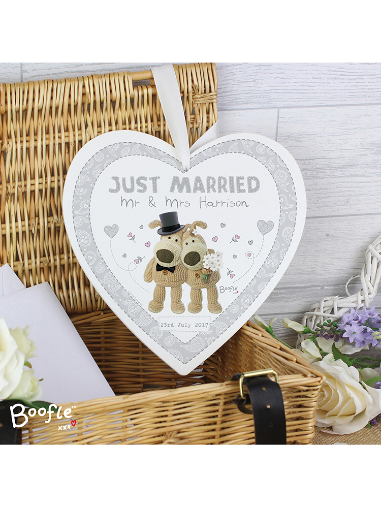 Personalised Boofle Wedding 22cm Large Wooden Heart Decoration