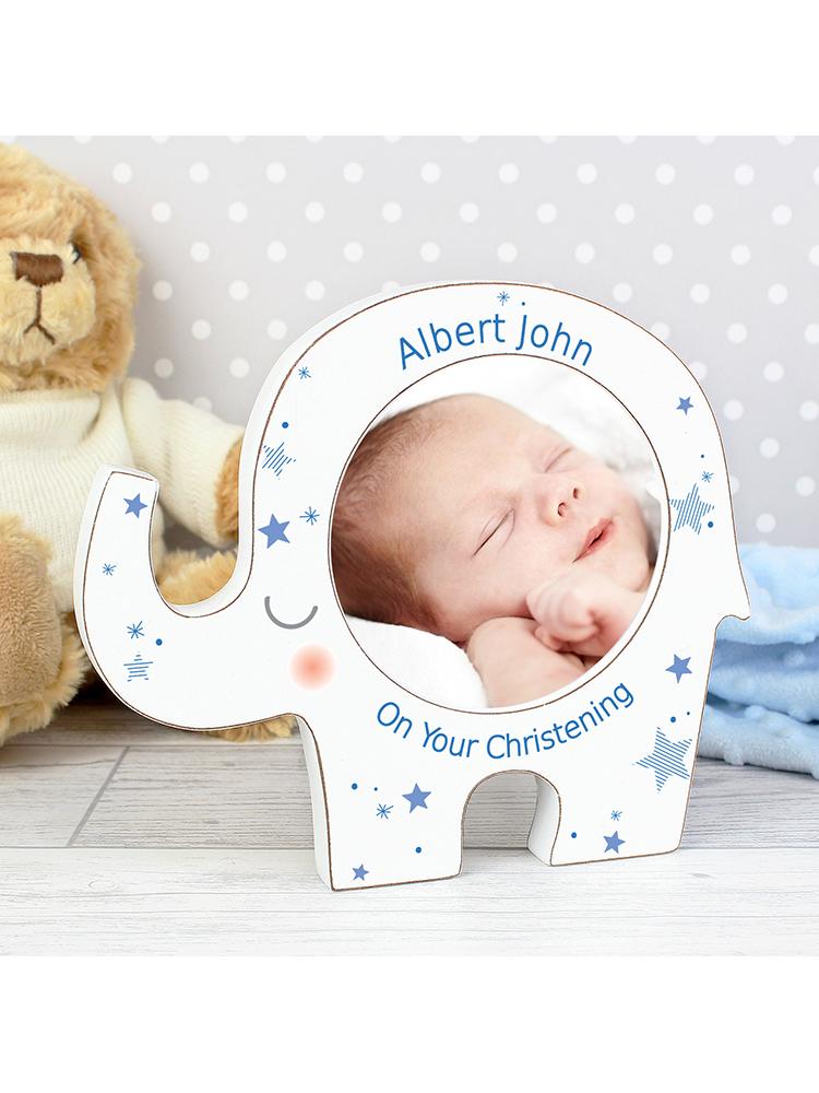 Personalised Blue Stars Elephant Baby Photo Frame