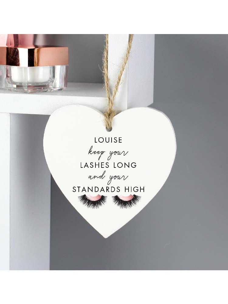 Personalised Eyelash Wooden Heart Decoration