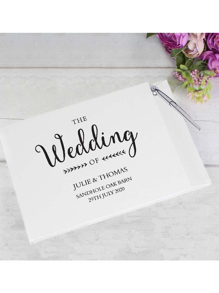 Personalised Rustic Wedding Hardback Guest Book & Pen