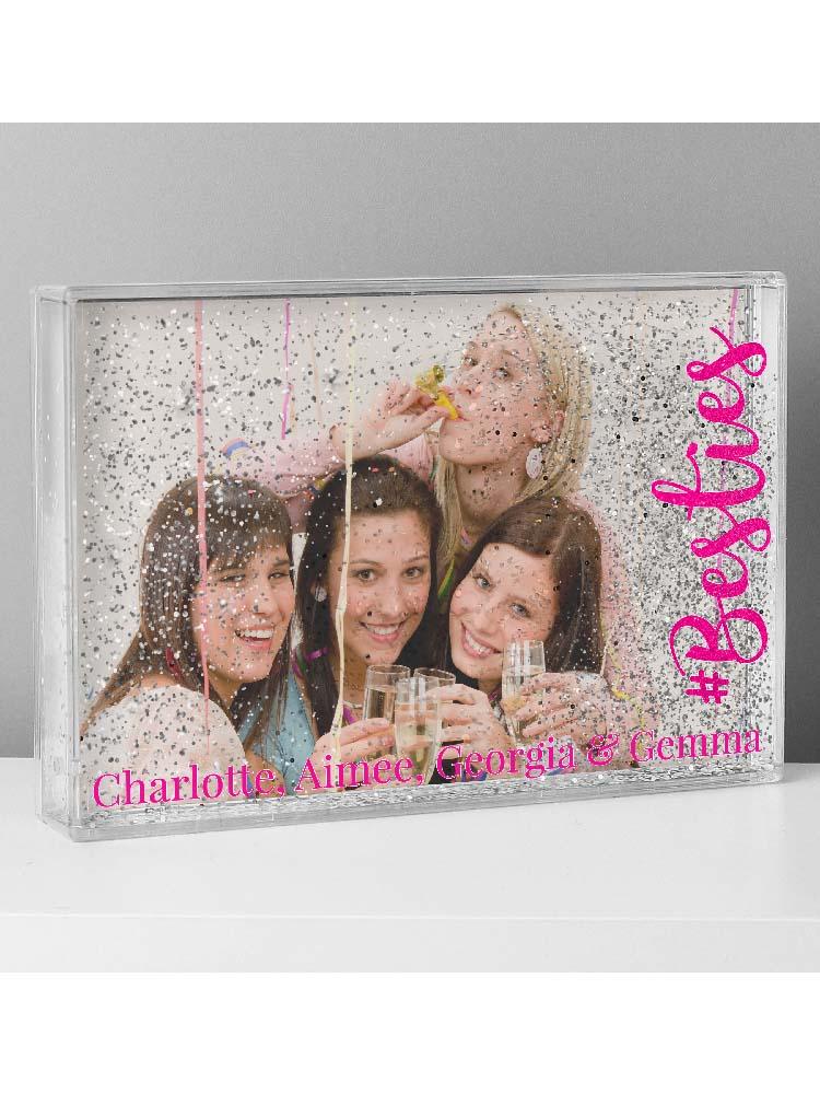 Personalised #Besties 6x4 Glitter Shaker Photo Frame