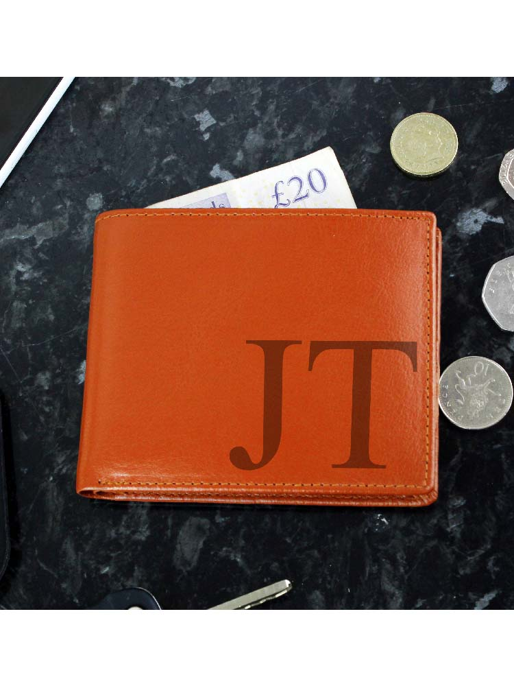 Personalised Big Initials Tan Leather Wallet
