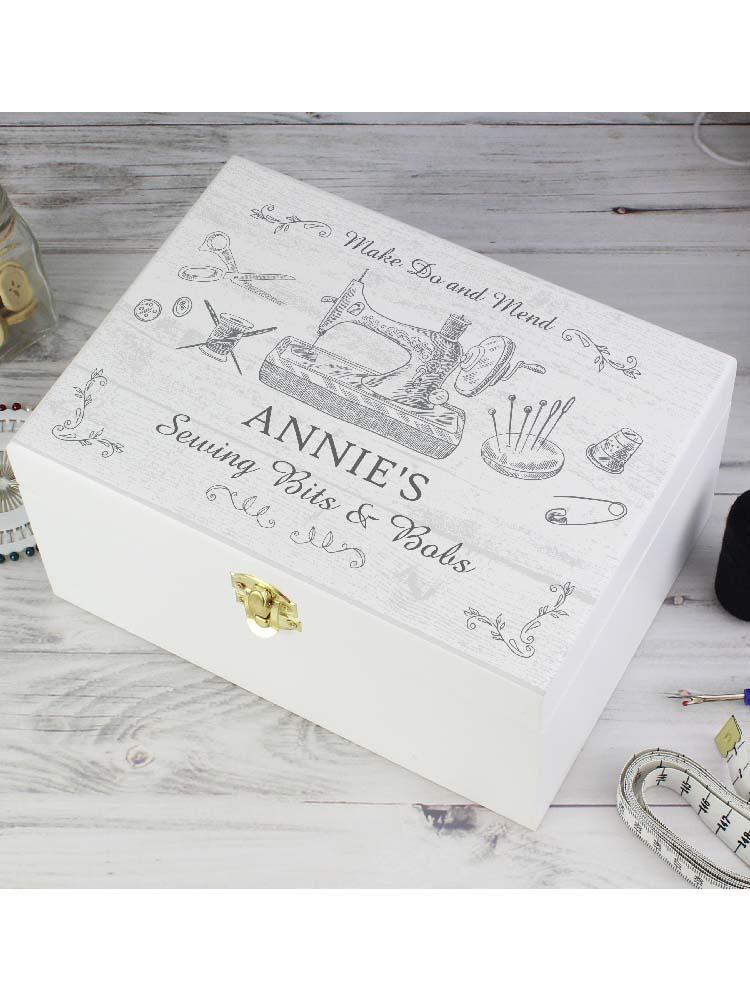 Personalised Sewing Kit White Wooden Keepsake Box