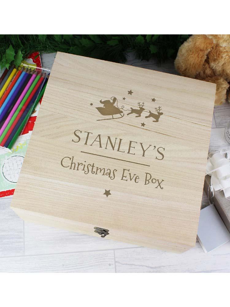 Personalised Large Wooden Christmas Eve Box