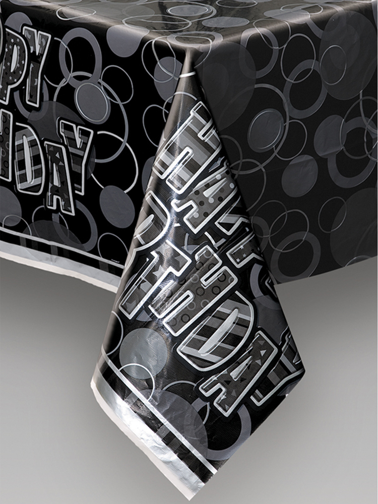 Birthday Glitz Black & Silver Plastic Printed Table cover