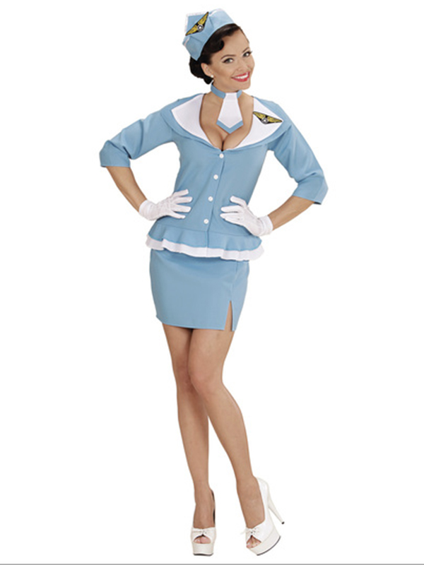 Retro Flight Attendant (Jacket Skirt Tie Hat)