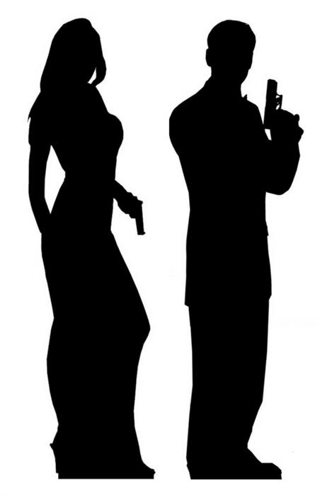 Secret Agent Male and Female Double Black Silhouette - Cardboard Cutout