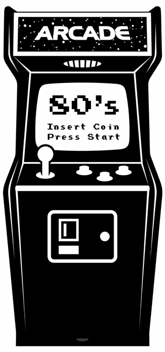 Golden Age Black and White Video Arcade - Cardboard Cutout