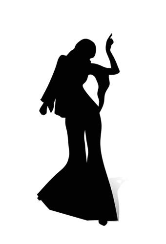 Disco Dancer Female - Silhouette Cardboard Cutout