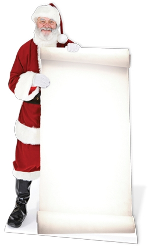 Santa with Large Sign - Cardboard Cutout