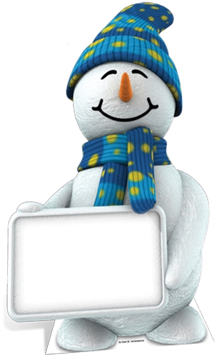 Snowman with Sign - Cardboard Cutout