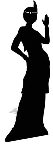 Flapper Girl silhouette Black - Cardboard Cutout