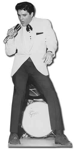 Elvis White Jacket and Drum - Cardboard Cutout