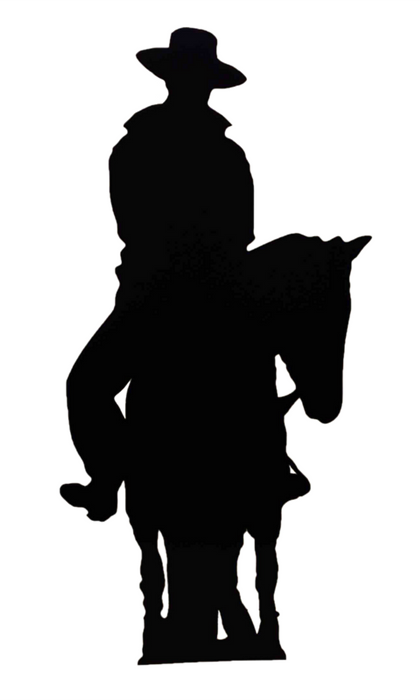 Cowboy on Horse (Silhouette) Black Lifesize Cardboard Cutout