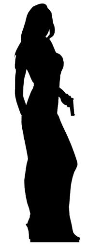 Secret Agent Girl Silhouette Black - Cardboard Cutout