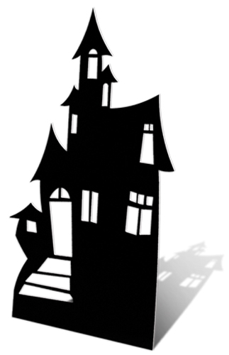 small haunted house silhouette cardboard cutout novelties