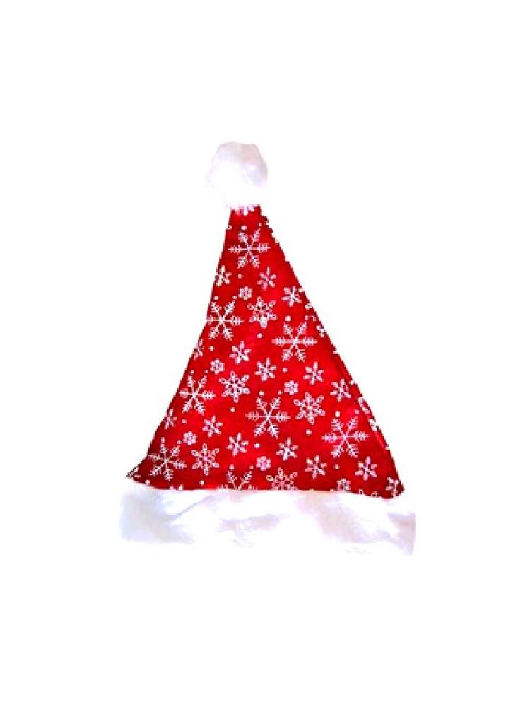 Santa Plush Hat with Silver Snowflakes