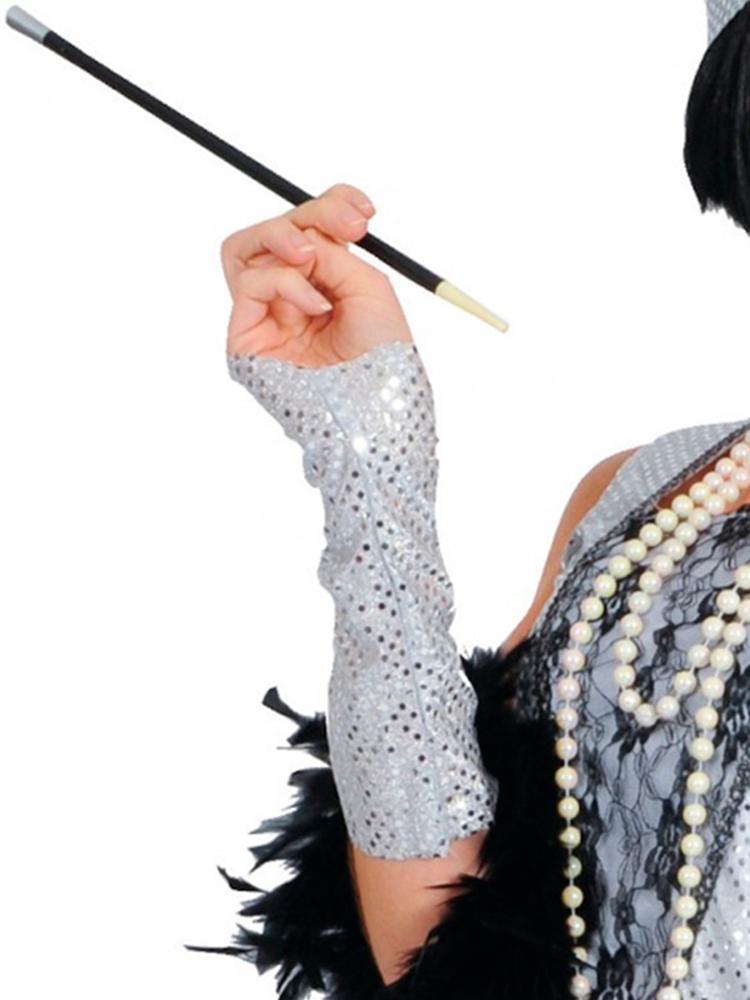 Cigarette Holder, Sequined Long Black