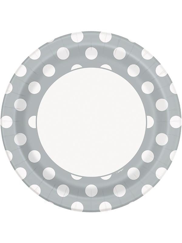 """Silver Dot Plates 9"""""""