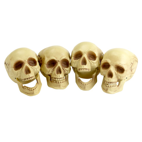 Skull Heads, 4 Pieces, Natural Colour