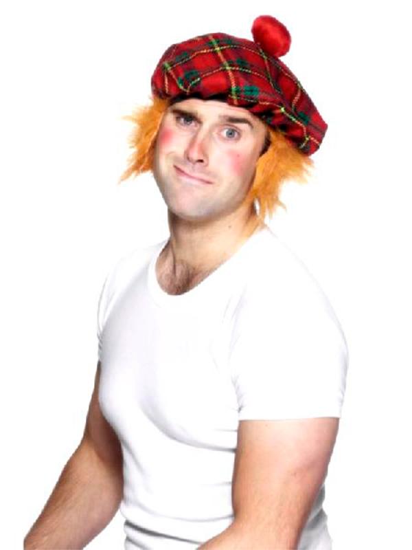 Tartan Tam O'Shanter with Ginger Fur Hair