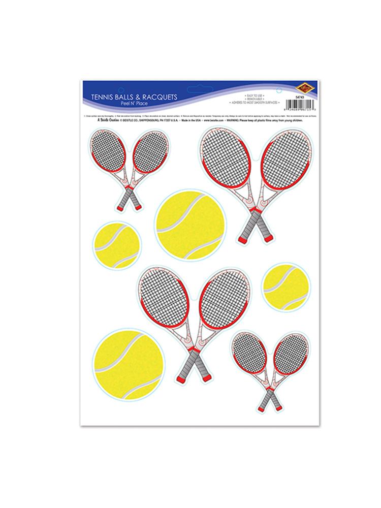 "Tennis Balls & Racquets Peel 'N Place 12"" x 17"""