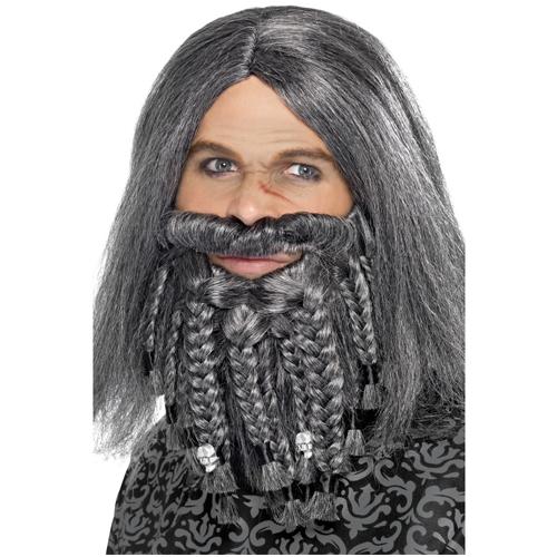 Terror Of The Sea Pirate Wig and Beard Set - Grey
