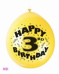 "Balloons 'HAPPY 3rd BIRTHDAY'  9"" Latex Balloons (10)"