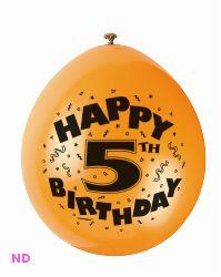 "Balloons 'HAPPY 5th BIRTHDAY' 9"" Latex Balloons (10)"