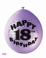 "Balloons 'HAPPY 18th BIRTHDAY' 9"" Latex Balloons (10)"
