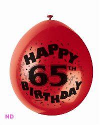 "Balloons 'HAPPY 65th BIRTHDAY' 9"" Latex Balloons (10)"