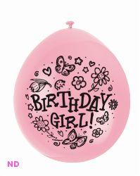 "Balloons 'BIRTHDAY GIRL' 9"" Latex Balloons Pink (10)"