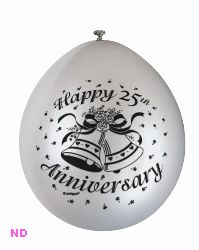 "Balloons 'HAPPY 25th ANNIVERSARY' Silver 9"" Latex (10)"