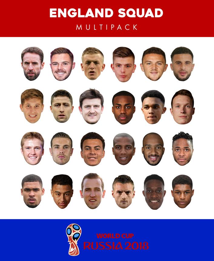 World Cup 2018 England Team Masks 24 pack