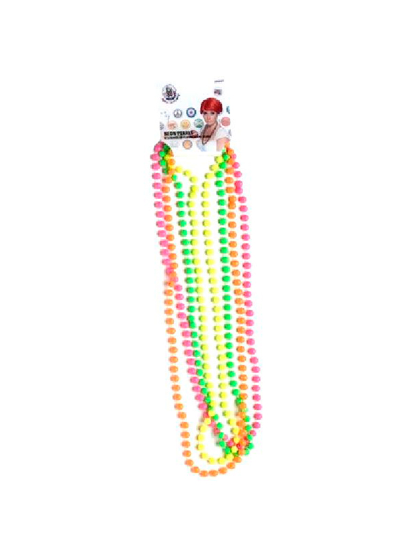 Beads, Pink, Green, Orange and Yellow 4 strands