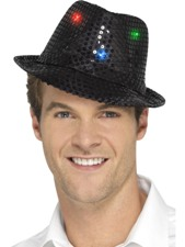 Flashing Sequin Gangster Hat - Black