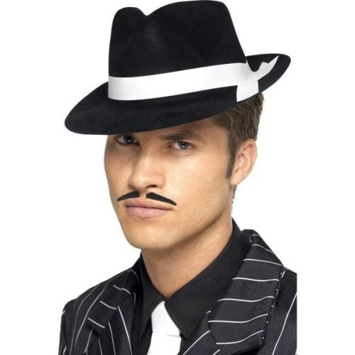 Al Capone Hat Black Flock With White Silk Band