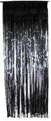 Foil Slashed Curtains Black