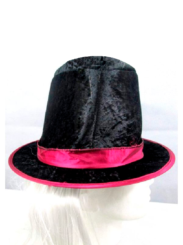 Black Top Hat with Attached Hair