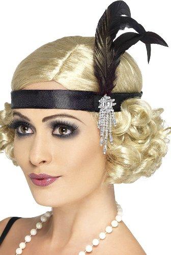 Charleston Headband With Feather Black Satin