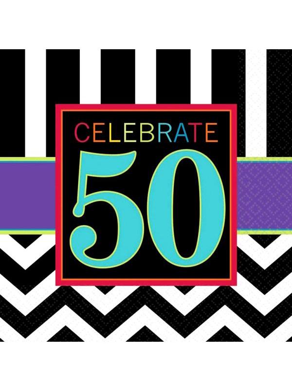 Happy Birthday Chevron Design 50 Napkin