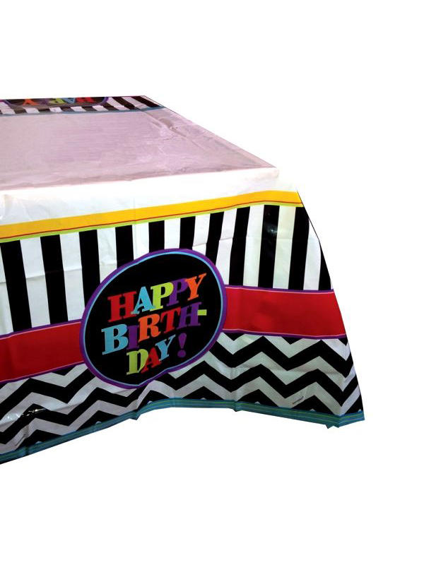 Happy Birthday Chevron Design Table Cloth