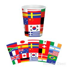 International Flag Cups ( 8 cups per pack)