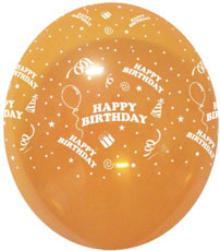 "Balloons HAPPY BIRTHDAY With Presents Ass Crystal Cols 12"" Bag Of 25"