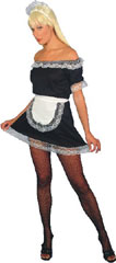 French Maid Sexy Costume Includes Dress, Apron And Hat, Size 10-14
