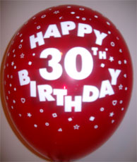 Balloons HAPPY 30TH BIRTHDAY Assorted Colours 12""