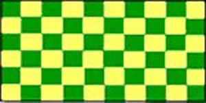Check Green And Yellow Flag 5ft x 3ft  With Eyelets For Hanging
