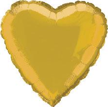 Foil Balloon Heart Solid Metallic Gold