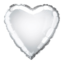 Foil Balloon Heart Solid Metallic Silver