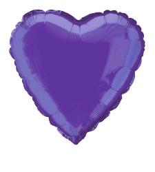 Foil Balloon Heart Solid Metallic Deep Purple